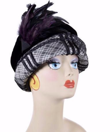 Ana Cloche Hat Style - Silver Plaid Upholstery Medium / Feather Trim - Purple & Black Hats Pandemonium Millinery