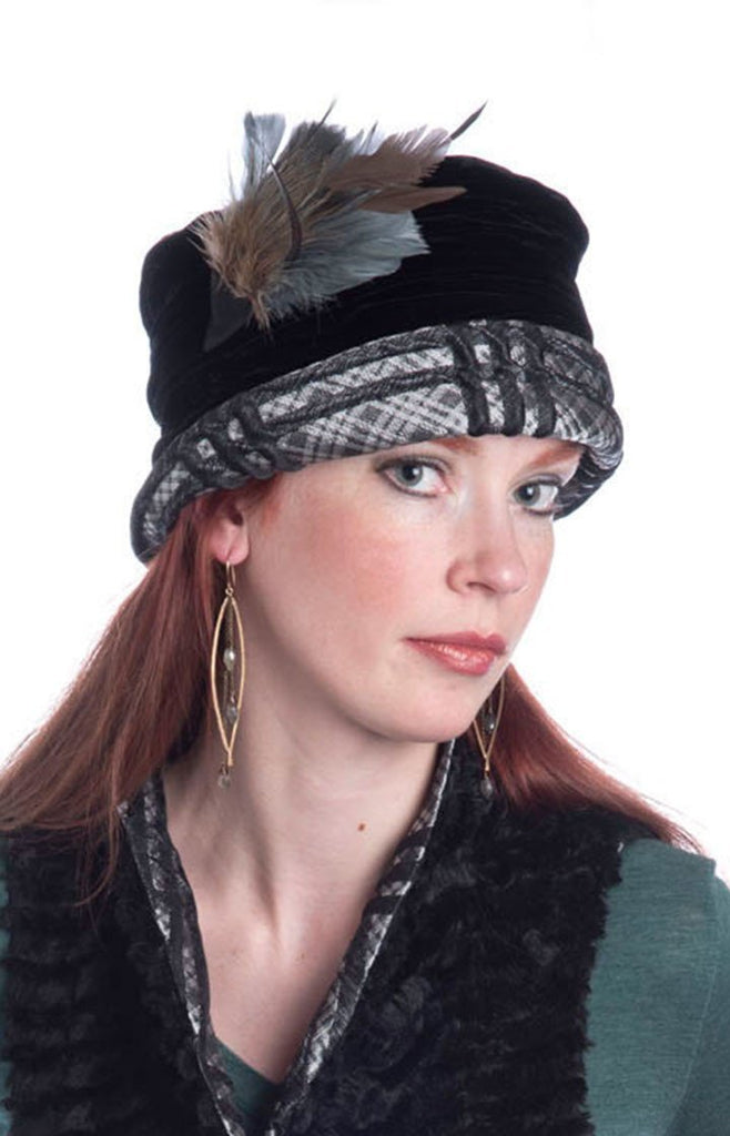 Ana Cloche Hat Style - Silver Plaid Upholstery Medium / Feather Trim - Steel & Pheasant Hats Pandemonium Millinery