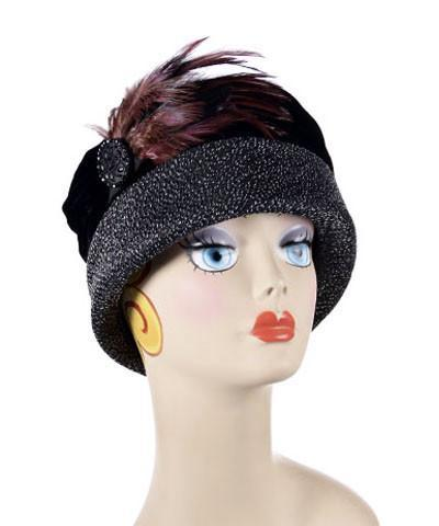 Ana Cloche Hat Style - Static Upholstery (Button SOLD OUT) Medium / Feather Trim - Black/Burgundy (No Button) Hats Pandemonium Millinery