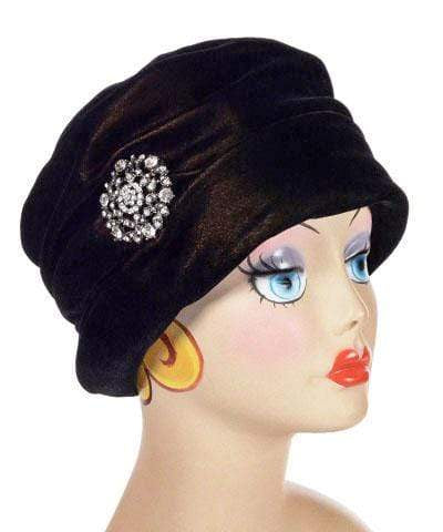 Pandemonium Millinery Ana Cloche Hat Style - Velvet in Black Gold Hats