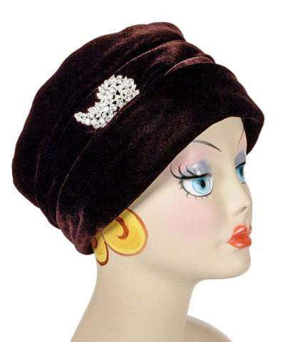 Pandemonium Millinery Ana Cloche Hat Style - Velvet in Chocolate Hats