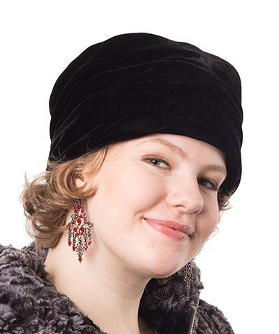 Ana Cloche Hat Style - Velvet in Chocolate Medium / Brooch - Rhinestone / Chocolate Hats Pandemonium Millinery