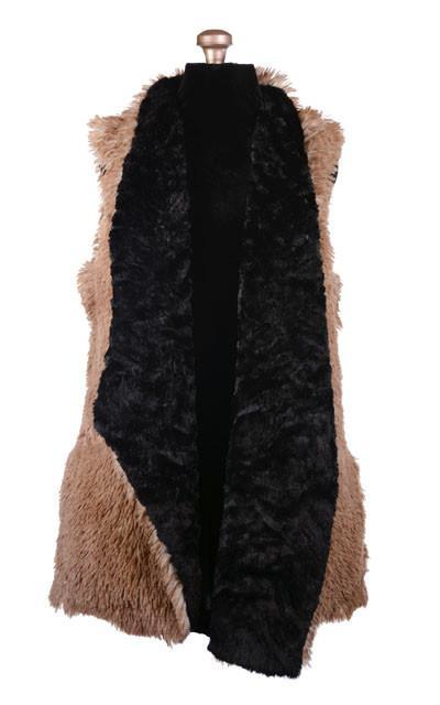 Asymmetrical Vest, Reversible less pockets - Fox Faux Fur with Cuddly Fur (One Medium Brown and Red Fox Left)
