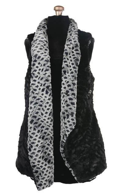 Asymmetrical Vest, Reversible less pockets - Luxury Faux Fur in Snow Owl with Cuddly Fur in Black (One Small Left!)