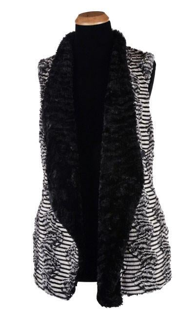 Asymmetrical Vest, Reversible less pockets - Luxury Faux Fur in Tipsy Zebra with Cuddly Fur in Black (One Medium Left!)