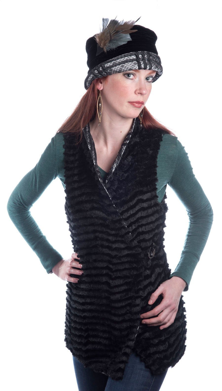 Asymmetrical Vest, Reversible less pockets - Silver Plaid Upholstery with Desert Sand in Midnight Faux Fur (One Small Left!)