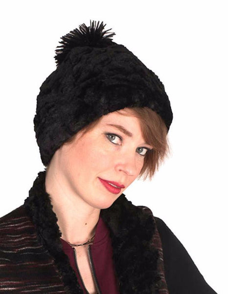 Beanie Hat, Reversible - Cuddly Faux Fur in Black Med / Black / Chocolate Hats Pandemonium Millinery