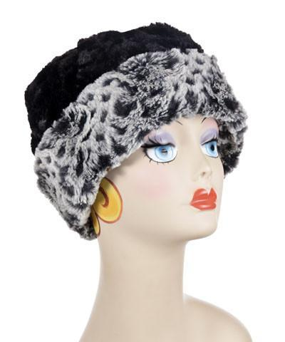 Beanie Hat, Reversible - Luxury Faux Fur in Snow Owl Medium / Snow Owl Hats Pandemonium Millinery