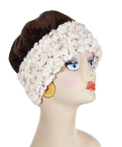 Beanie Hat, Structured -  Cohen in Chocolate Upholstery with Rosebud in Brown Faux Fur Medium / Cohen in Chocolate / Rosebud Brown Hats Pandemonium Millinery