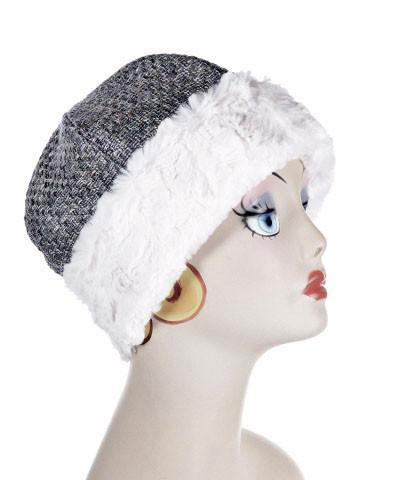 Beanie Hat, Structured -  Frozen Tundra Upholstery with Cuddly Faux Fur in Ivory Medium / Frozen Tundra / Ivory Hats Pandemonium Millinery