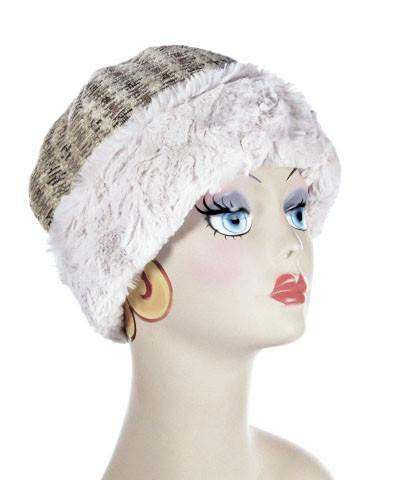 Beanie Hat, Structured -  Iago Upholstery with Cuddly Faux Fur in Sand