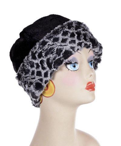 Beanie Hat, Structured - Pebbles in Black Upholstery with Luxury Faux Fur in Snow Owl