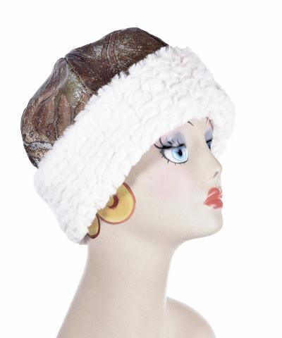 Beanie Hat, Structured - Renaissance in Everglade Upholstery with Snow Mogul Faux Fur (One Medium Left!)