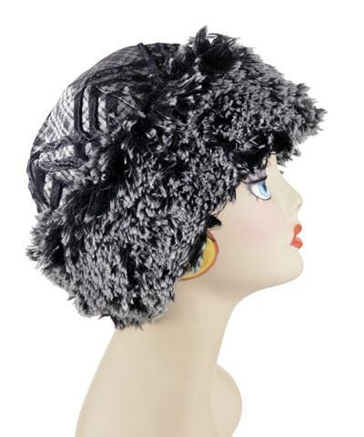 Beanie Hat, Structured -  Silver Plaid Upholstery with Silver Tipped Fox in Black Medium / Silver Plaid / Silver Tipped Black Hats Pandemonium Millinery