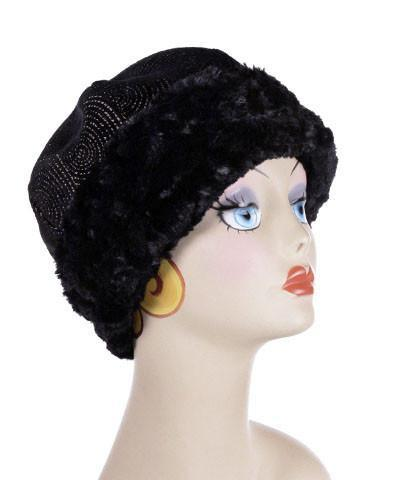 Beanie Hat, Structured - Spiral Dance Upholstery with Cuddly Faux Fur in Black