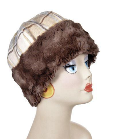 Beanie Hat, Structured - Wool Plaid in Daybreak with Cuddly Chocolate Faux Fur Medium / Wool Plaid Daybreak / Chocolate Hats Pandemonium Millinery