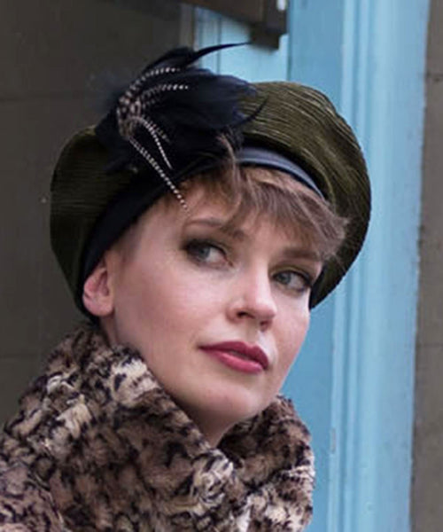 Beret, Reversible - Cohen Upholstery Medium / Cohen in Olive / Cuddly Black / Hat Only Hats Pandemonium Millinery