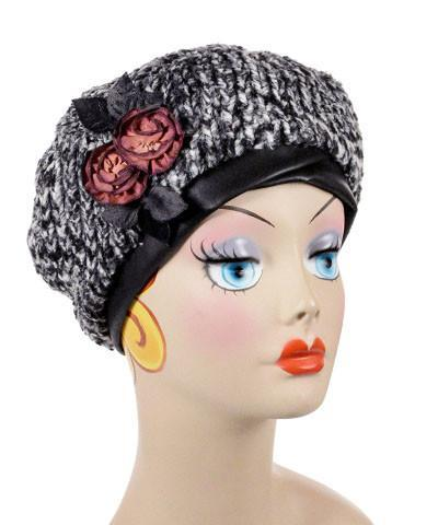 Beret, Reversible -  Cozy Cable in Ash Faux Fur Medium / Cozy Cable / Black / Brooch Rose 1 Hats Pandemonium Millinery