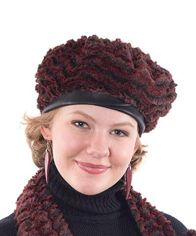 Beret, Reversible -  Desert Sand Sand Faux Fur Medium / Desert Crimson / Cuddly Black / Hat Only Hats Pandemonium Millinery