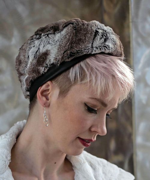 Beret, Reversible -  Luxury Faux Fur in Birch Medium / Birch / Ivory / Hat Only Hats Pandemonium Millinery