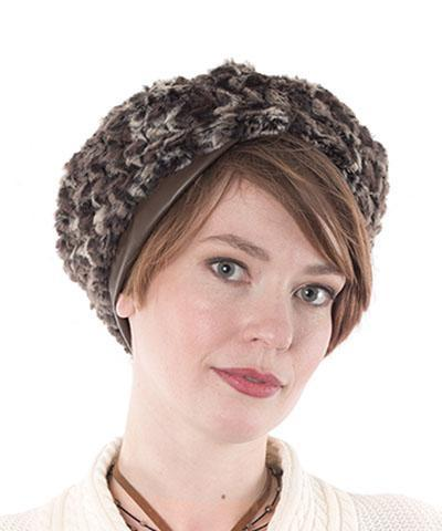 Beret, Reversible - Luxury Faux Fur in Calico Medium / Calico / Cuddly Chocolate / Hat Only Hats Pandemonium Millinery