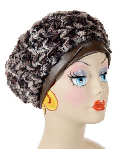 Beret, Reversible - Luxury Faux Fur in Calico