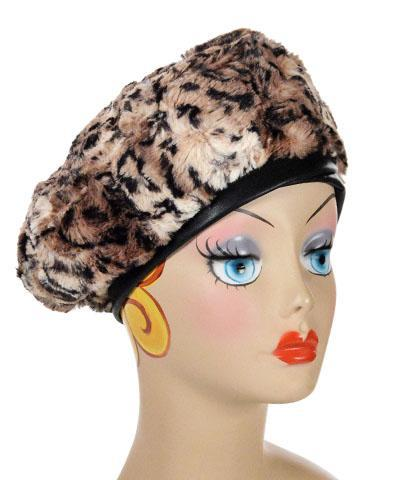 Beret, Reversible - Luxury Faux Fur in Carpathian Lynx Medium / Carpathian Lynx / Cuddly Black / Hat Only Hats Pandemonium Millinery