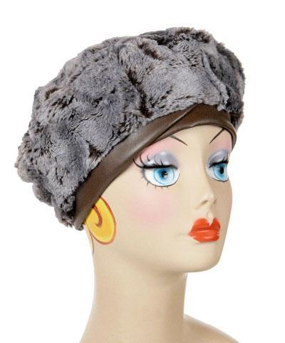 Beret, Reversible - Luxury Faux Fur in Giant's Causeway Medium / Giant's Causeway / Cuddly Chocolate / Feather Trim F18-04B Hats Pandemonium Millinery