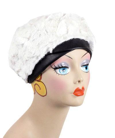 Beret, Reversible -  Luxury Faux Fur in Khaki Medium / Khaki / Ivory / Hat Only Hats Pandemonium Millinery