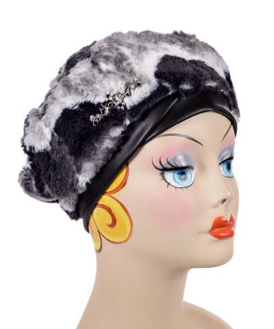 Beret, Reversible -  Luxury Faux Fur in Ocean Mist