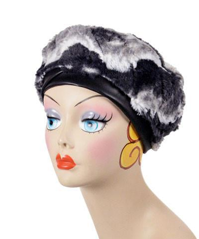 Beret, Reversible -  Luxury Faux Fur in Ocean Mist Medium / Ocean / Cuddly Ivory / Hat Only Hats Pandemonium Millinery