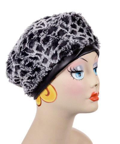 Beret, Reversible - Luxury Faux Fur in Snow Owl Medium / Snow Owl / Cuddly Black / Hat Only Hats Pandemonium Millinery