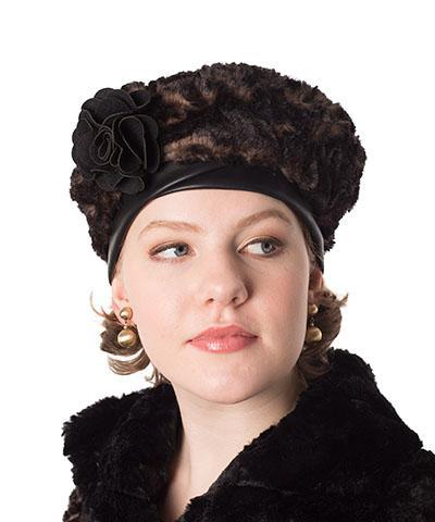 Beret, Reversible - Luxury Faux Fur in Vintage Rose (Brooch - SOLD OUT) Medium / Vintage Rose / Cuddly Black / Hat Only Hats Pandemonium Millinery