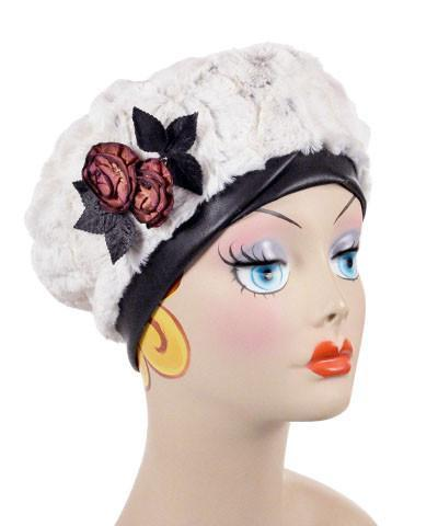 Beret, Reversible -  Luxury Faux Fur in Winters Frost Medium / Winters Frost / Cuddly Blac / Hat Only Hats Pandemonium Millinery