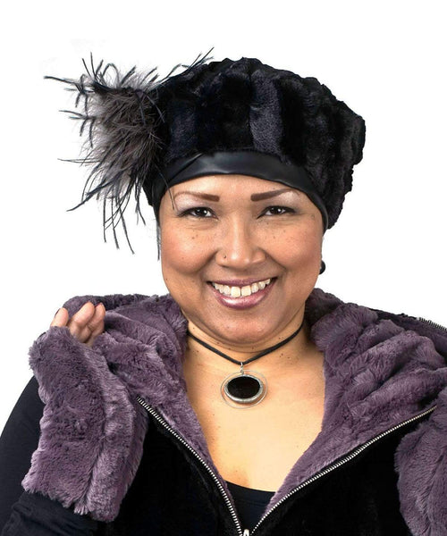 Pandemonium Millinery Beret, Reversible -  Minky Faux Fur (One Medium in Mauve Left!) Medium / Minky Black / Black / Hat Only Hats