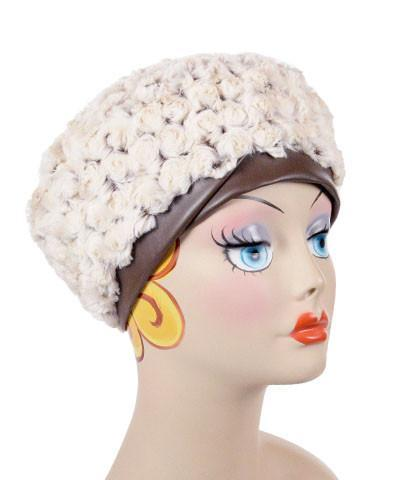 Beret, Reversible -  Rosebud Faux Fur Medium / Rosebud Brown / Cuddly Chocolate / Hat Only Hats Pandemonium Millinery
