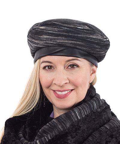 Beret, Reversible -  Sweet Stripes Medium / Blackberry Cobbler / Cuddly Black / Hat Only Hats Pandemonium Millinery