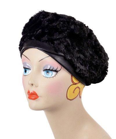 Beret, Reversible -  Velvet in Black Medium / Black / Cuddly Black / Brooch ROSE-1 Hats Pandemonium Millinery