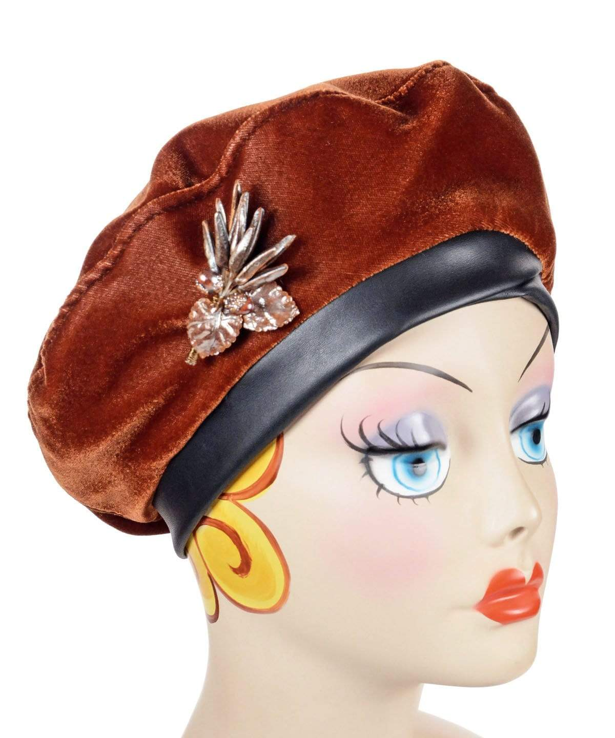 Beret, Reversible -  Velvet in Citrine
