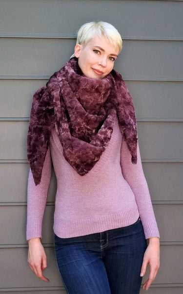 Pandemonium Millinery Bermuda Scarf - Highland Faux Fur in Thistle Scarves