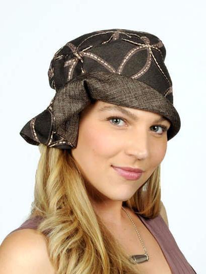 Billie Cloche Style Hat, Reversible - Karma in Java Upholstery with Interconnected in Java (One Large Left!)