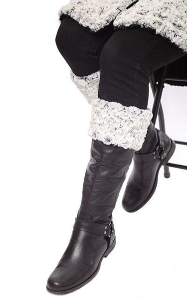 Boot Topper - Rosebud Faux Fur No Buttons / Rosebud in Black Accessories Pandemonium Millinery