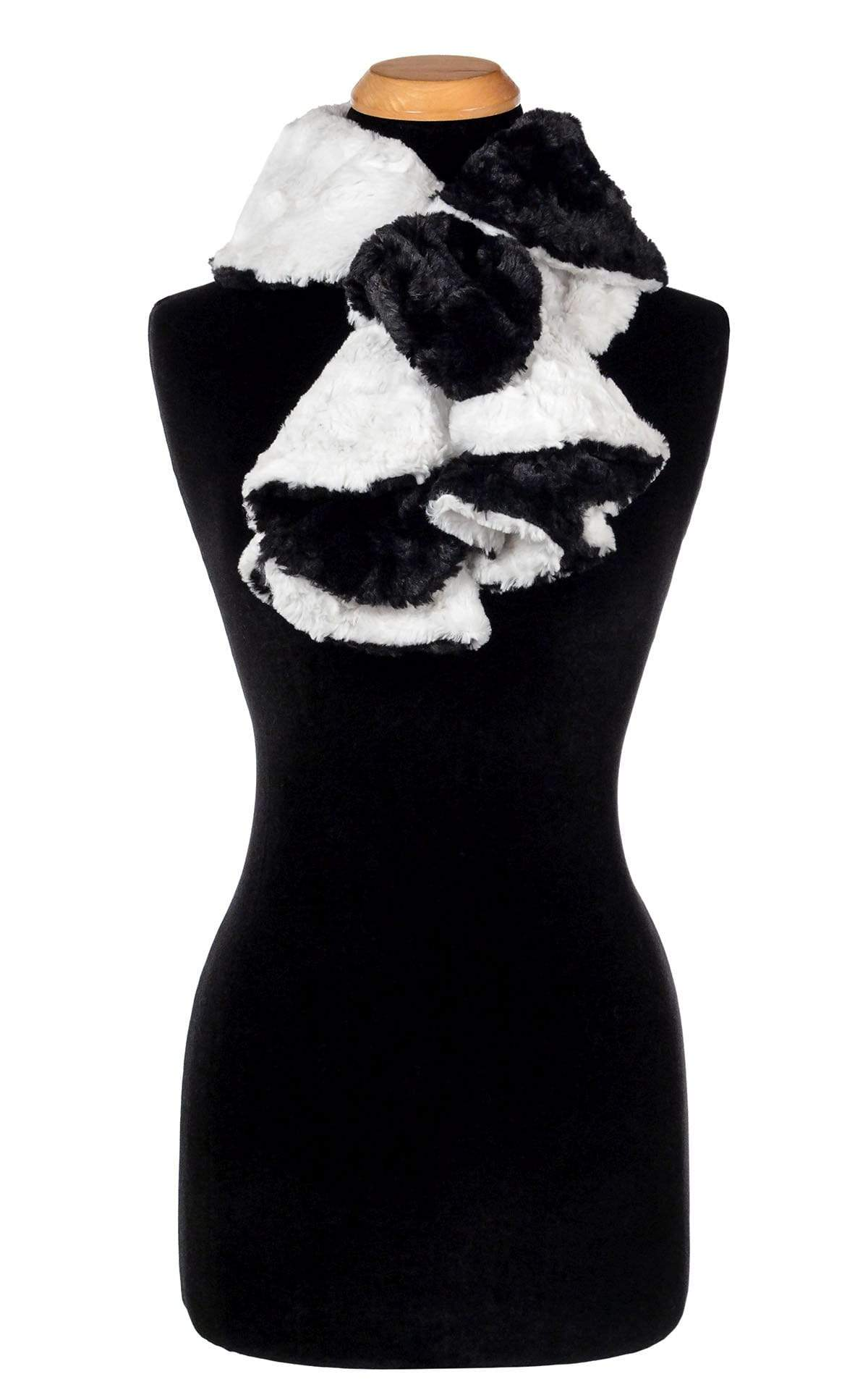 Cascade Scarf - Two-Tone, Cuddly Faux Fur in Ivory with Cuddly Fur in Black