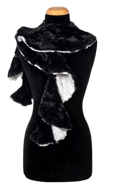 Pandemonium Millinery Cascade Scarf - Two-Tone, Cuddly Faux Fur in Ivory with Cuddly Fur in Black Cuddly Ivory / Cuddly Black Scarves