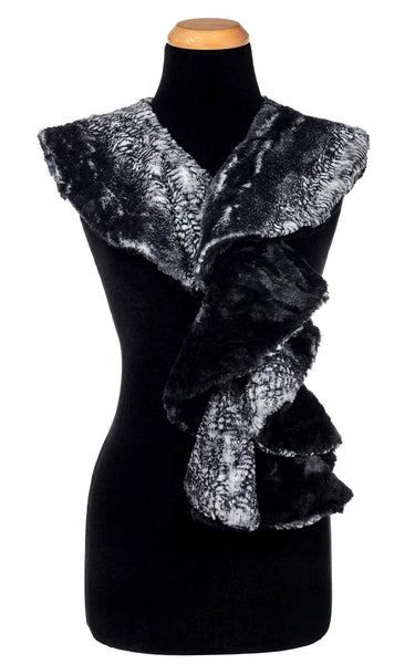 Pandemonium Millinery Cascade Scarf - Two-Tone, Luxury Faux Fur in Black Mamba with Cuddly Fur in Black Black Mamba / Cuddly Black Scarves