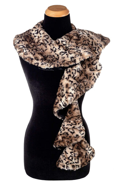 Pandemonium Millinery Cascade Scarf - Two-Tone, Luxury Faux Fur in Carpathian Lynx with Cuddly Fur in Black Carpathian Lynx / Cuddly Black Scarves