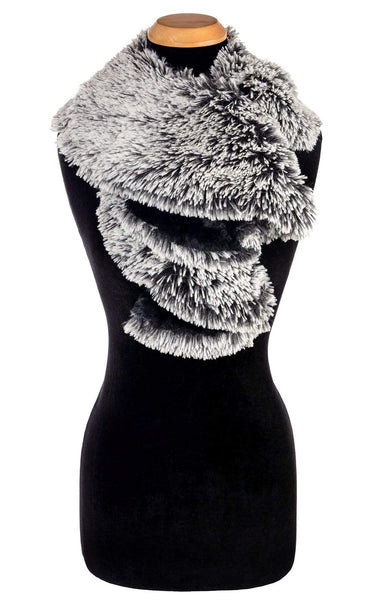Pandemonium Millinery Cascade Scarf - Two-Tone, Silver Tipped Fox Faux Fur in Black with Cuddly Fur in Black Silver Tipped Fox Black / Cuddly Black Scarves