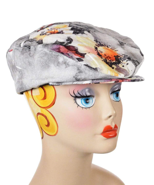 Pandemonium Millinery Charlie Driving Cap - Linen in Multi Floral Medium / Hat Only Hats