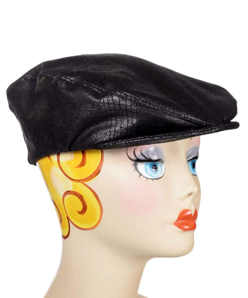 Pandemonium Millinery Charlie Driving Cap- Vegan Leather Outback in Black Hats