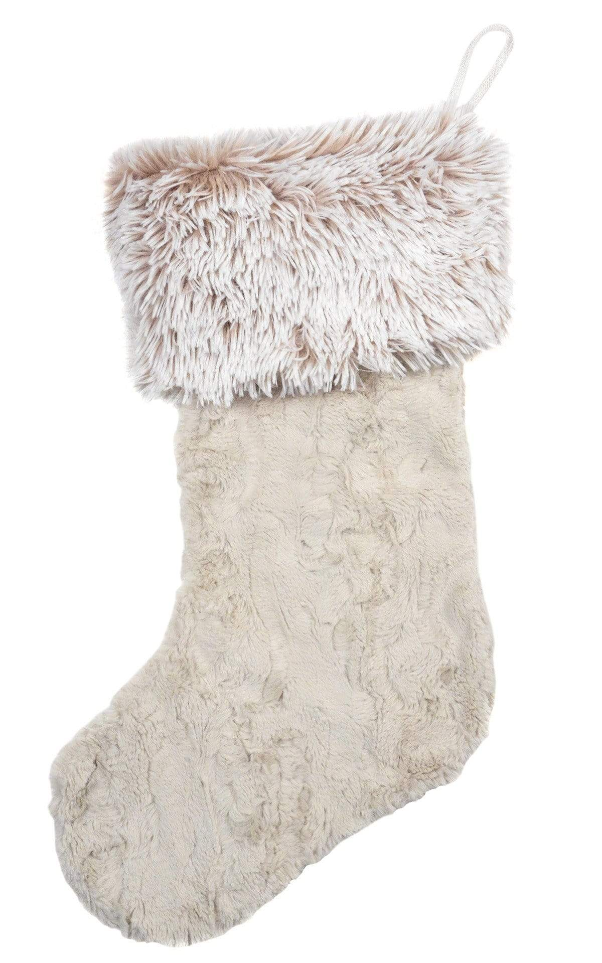 Christmas Stocking - Cuddly Faux Fur in Sand with Foxy Beach